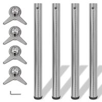 4 Height Adjustable Table Legs Brushed Nickel 710 mm