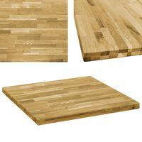 vidaXL Table Top Solid Oak Wood Square 44 mm 70x70 cm
