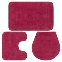 vidaXL Bathroom Mat Set 3 Pieces Fabric Fuchsia