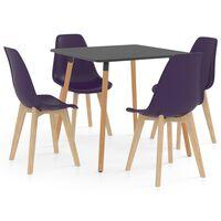 vidaXL 5 Piece Dining Set Dark Purple