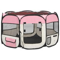 vidaXL Foldable Dog Playpen with Carrying Bag Pink 110x110x58 cm