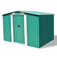 vidaXL Garden Storage Shed Green Metal 257x205x178 cm