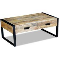 vidaXL Coffee Table with 2 Drawers Solid Mango Wood 100x60x40 cm