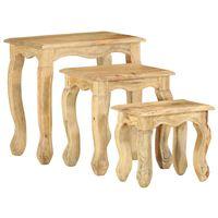 vidaXL 3 Piece Nesting Table Set Solid Mango Wood