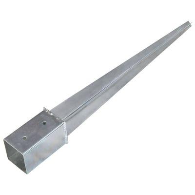 vidaXL Ground Spikes 2 pcs Silver 8x8x76 cm Galvanised Steel,