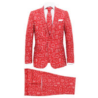 vidaXL 2 Piece Men's Christmas Suit with Tie Size 52 Gifts Red