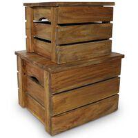 vidaXL Storage Crate Set 2 Pieces Solid Reclaimed Wood