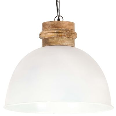 vidaXL Industrial Hanging Lamp White Round 50 cm E27 Solid Mango Wood