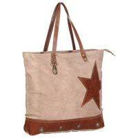 vidaXL Shopper Bag Brown 48x61 cm Canvas and Real Leather