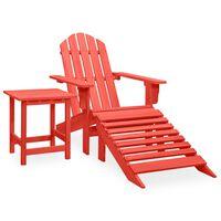 vidaXL Garden Adirondack Chair with Ottoman&Table Solid Fir Wood Red