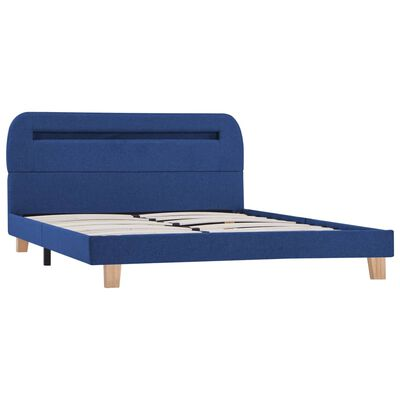 vidaXL Bed Frame with LED Blue Fabric 135x190 cm