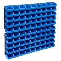vidaXL 96 Piece Storage Bin Kit with Wall Panels Blue and Black