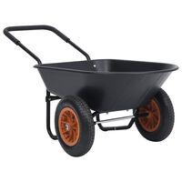 vidaXL Wheelbarrow Black and Orange 78 L 100 kg