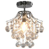 vidaXL Ceiling Lamp with Crystal Beads Silver Round E14
