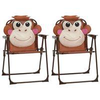 vidaXL Kids' Garden Chairs 2 pcs Brown Fabric