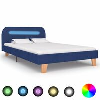vidaXL Bed Frame with LED Blue Fabric 120x190 cm