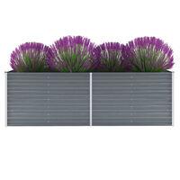 vidaXL Garden Raised Bed Galvanised Steel 240x80x77 cm Grey
