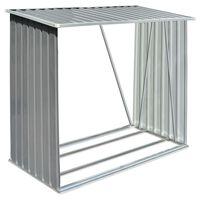 vidaXL Garden Log Storage Shed Galvanised Steel 163x83x154 cm Grey