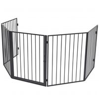 vidaXL Pet Fireplace Fence Steel Black