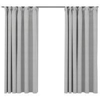vidaXL Linen-Look Blackout Curtains with Hooks 2 pcs Grey 140x175 cm