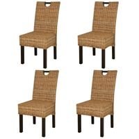 vidaXL Dining Chair 4 pcs Kubu Rattan Mango Wood