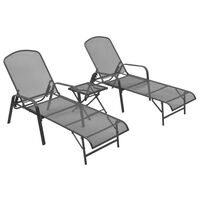 vidaXL Sun Loungers 2 pcs with Table Steel Anthracite