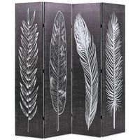 vidaXL Folding Room Divider 160x170 cm Feathers Black and White