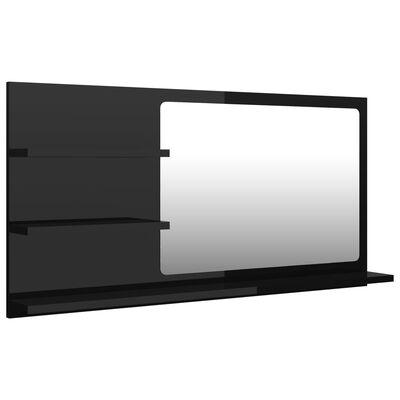 vidaXL Bathroom Mirror High Gloss Black 90x10.5x45 cm Chipboard