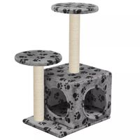vidaXL Cat Tree with Sisal Scratching Posts 60 cm Grey Paw Prints