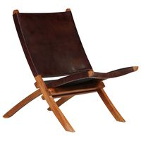 vidaXL Folding Relaxing Chair Brown Real Leather