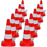 10 Reflective Traffic Cones Red and White 50 cm
