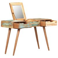 vidaXL Dressing Table with Mirror 112x45x76 cm Solid Reclaimed Wood