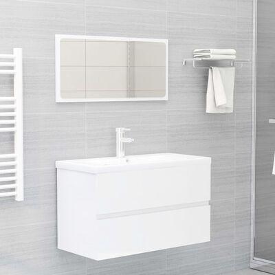 vidaXL 2 Piece Bathroom Furniture Set High Gloss White Chipboard