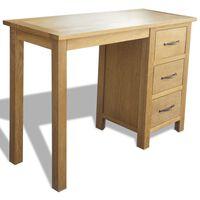 vidaXL Desk with 3 Drawers 106x40x75 cm Solid Oak Wood