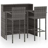 vidaXL 3 Piece Garden Bar Set Grey