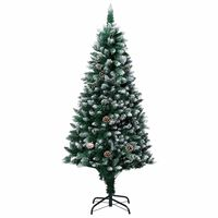 vidaXL Artificial Christmas Tree with Pine Cones and White Snow 180 cm