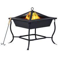 vidaXL Fire Pit Black 45x45x45 cm Steel