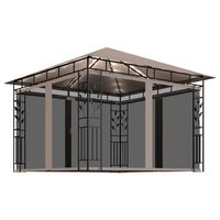 vidaXL Gazebo with Mosquito Net and String Lights 3x3x2.73 m Taupe 180 g/m²