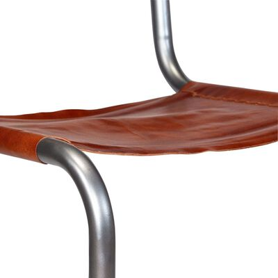 vidaXL Dining Chairs 4 pcs Brown Real Leather