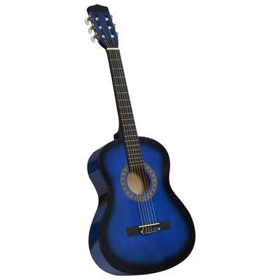 "vidaXL Classical Guitar for Beginner and Kids Blue 3/4 36"""