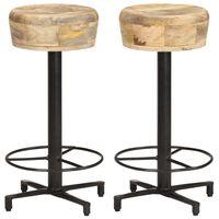 vidaXL Bar Stools 2 pcs 66 cm Solid Mango Wood