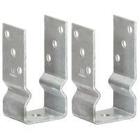 vidaXL Fence Anchors 2 pcs Silver 7x6x15 cm Galvanised Steel