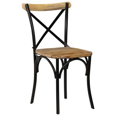 vidaXL Cross Chairs 2 pcs Black Solid Mango Wood