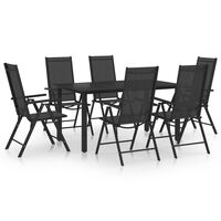 vidaXL 7 Piece Garden Dining Set Aluminium Black