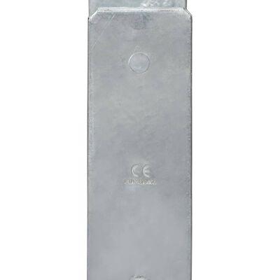 vidaXL Fence Anchors 6 pcs Silver 8x6x60 cm Galvanised Steel,