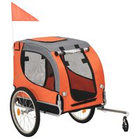 vidaXL Dog Bike Trailer Orange and Grey