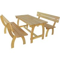 vidaXL Beer Table with 2 Benches Impregnated Pinewood