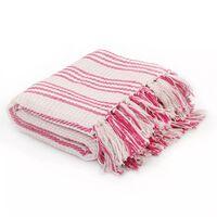 vidaXL Throw Cotton Stripes 220x250 cm Pink and White