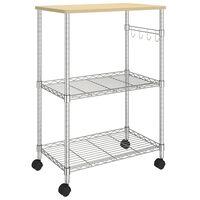 vidaXL 3-Tier Kitchen Cart 61x36x85 cm Chromed Iron
