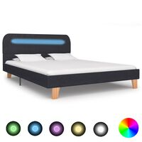 vidaXL Bed Frame with LED Dark Grey Fabric 135x190 cm